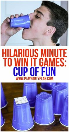10 of the funniest minute to win it games ever! These are perfect for kids, for teens, for adults, or even at family reunion. These would be so funny to play with my work team or at my son's next birt (Minutes To Win It Games For Kids) Funny Party Games, Adult Party Games, Adult Games, Abc Games, Funny Games For Groups, Party Games For Groups, Teenage Party Games, Teen Games, Pep Rally Games