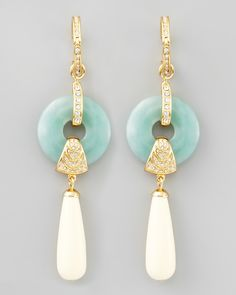 Rachel Zoe Amazonite Cream Teardrop Earrings