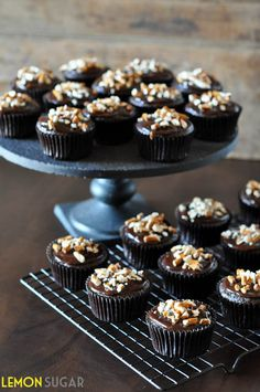 These cupcakes start with a stout-beer and espresso cake, and are topped with a stout-ganache and garnished with crushed pretzels. Cocktail Cupcakes, Fun Cupcakes, Cupcake Cakes, Octoberfest Party, Oktoberfest Food, Beer Recipes, Baking Recipes, Espresso Cake, Cooking With Beer