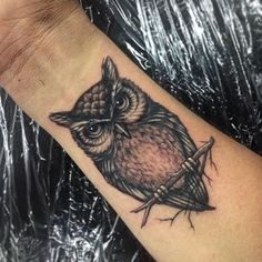 A client brought in a little tribal owl design, so we plumped him up with some feathers! #tattoo #owl #ink #wrist #design #nature #inkjecta #bird #greywash #detail