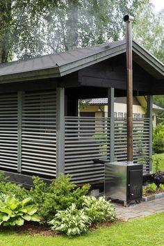 kuva Sauna House, Victorian Homes, Pergola, Sweet Home, Villa, New Homes, Outdoor Structures, Cabin, Garden