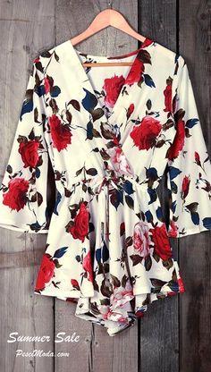 $15.99 Only, Summer Floral Chiffon Romper / Jumpsuit. Shop Online at…
