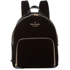 Kate Spade New York Women's Watson Lane Velvet Backpack - Black (£190) ❤ liked on Polyvore featuring bags, backpacks, black, zip handle bags, velvet bag, velvet backpack, rucksack bags and kate spade bags