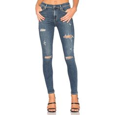 AGOLDE Sophie High Rise Skinny ($160) ❤ liked on Polyvore featuring jeans, skinny jeans, high-waisted jeans, blue jeans, high waisted ripped jeans and distressed skinny jeans