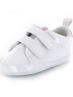 Gelakte lage sneakers met print van imitatie-krokodillenleer wit Meisjes babykleding - Kiabi
