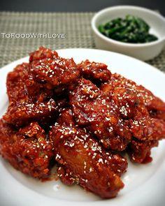 To Food with Love: Yangnyeom Tongdak (Korean Spicy Fried Chicken)