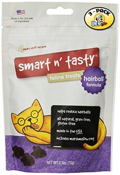 Smart n Tasty Grain Free Cat Hairball Formula Feline Treats Pack of 3 ** Want additional info? Click on the image.