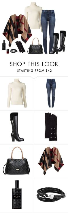 """""""little red"""" by picassogirl ❤ liked on Polyvore featuring Emanuel Ungaro, J Brand, GUESS, Neiman Marcus, Burberry, Alaïa, Bling Jewelry and NARS Cosmetics"""