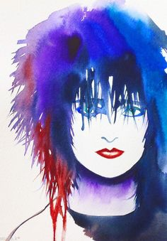 Siouxsie Sioux Original Watercolor Painting Portrait Punk Rock Edgy Fashion Art