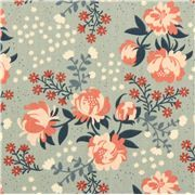 Peonies Mint peony flower birch organic fabric from the USA