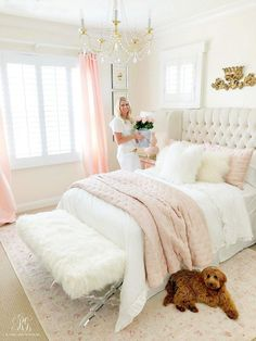 3 Simple Ways to Add Pink to your Home - Randi Garrett Design 3 Simple Ways to Add Pink to your Home - try adding pink to your bed with simple bedding or pink towels to your bathroom or maybe pink flowers Pink Bedroom Decor, Home Bedroom, Cream And Pink Bedroom, Light Pink Girls Bedroom, Blush Pink Bedroom, Teen Bedroom, Bedroom Furniture, Pink Master Bedroom, Fall Bedroom