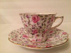 Rosina Pink Rose Chintz Cup & Saucer Gold Trim by yolandasGiftShop