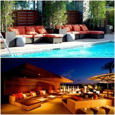Lounge by the pool by day and snuggle up next to the fire at night! #SanDiego #DelMar #lounge