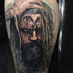 Rob Zombie has a headache I think, tattoo by Paul Acker Zombie Tattoos, Badass Tattoos, Horror Tattoos, Paul Acker, Different Styles Of Tattoos, Think Tattoo, Horror Artwork, World Tattoo, Rob Zombie