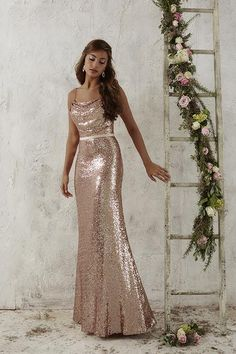 Christina Wu Occasions 22706 is a full-length sequin bridesmaid gown that is accompanied by an attached satin waistband and topped by a cowl neckline, held by dainty spaghetti straps. Sequin Bridesmaid Dresses, Bridesmaid Dress Styles, Bridal Dresses, Prom Dresses, Formal Dresses, Sparkly Bridesmaids, Pageant Gowns, Christina Wu, Essense Of Australia