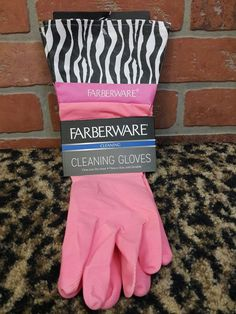 Farberware 100% Latex Cleaning Gloves Dishes Old School PINK ZEBRA PINK Chic NEW #Farberware