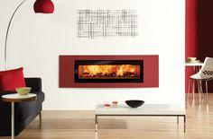 L'insert à bois #Studio 3 Verve de #Stovax en rouge métallique pour un intérieur qui remue les #passions !