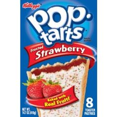 12 boxes of delicious Frosted Strawberry flavoured Pop-Tarts. Each box contains 8 slices that weigh approximately 416 grams in total. Available to buy online in Australia.