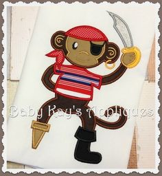 Pirate Monkey ~ New design in a full line of Pirate Appliques.