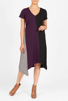 High-contrast, asymmetrical color blocking adds eye-grabbing appeal to our swingy shift dress cut from soft stretch cotton knit.