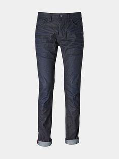 Mens Blue Coated Slim Jeans