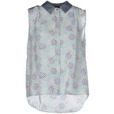 Tru Trussardi Shirt ($110) ❤ liked on Polyvore featuring tops, turquoise, polka dot top, tru trussardi, no sleeve shirt, sleeveless shirts and polka dot sleeveless shirt