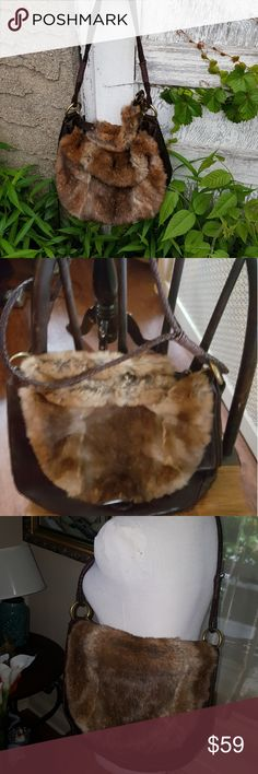 Fab Andrew Marc fur and leather flap bag Beg is an excellent condition and fur is not shedding. I believe her to be rabbit but it does not have a tag. Inside is clean and this bag can be carried as a short sold bag or a short crossbody which would reach right under your arm. Reasonable offers welcome. There is an 11 inch drop from the braided leather strap which is not adjustable Andrew Marc Bags