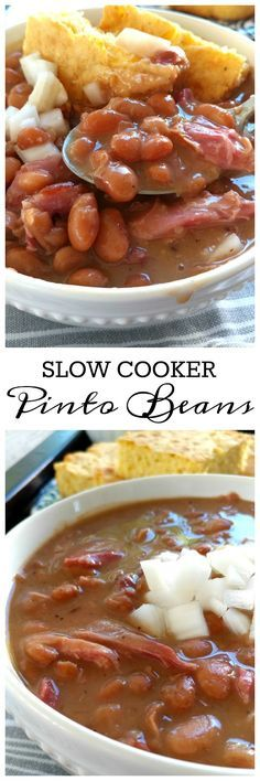 These beans cook up creamy and tender with a smoky, silky sauce thats perfect with cornbread. Recipe for crock pot and stove top preparation. recipes for slow cooker Slow Cooker Huhn, Crock Pot Slow Cooker, Crock Pot Cooking, Pressure Cooker Recipes, Crock Pot Beans, Pinto Beans In Crock Pot Recipe, Crockpot Soup Beans, Brown Beans Recipe, Pork And Beans Recipe