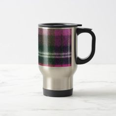 pink plaid flannel travel mug - #customizable create your own personalize diy