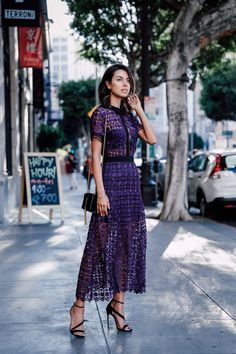 purple lace dress with crisscross sandals                                                                                                                                                                                 More