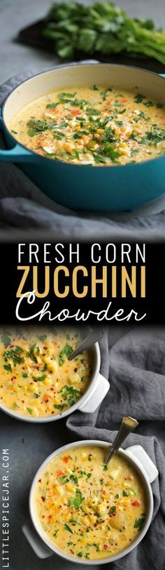 Fresh Corn Zucchini Chowder is part of Chowder recipes - Fresh Corn Zucchini Chowder The perfect way to use up all that summer produce! Creamy chowder loaded with fresh corn and zucchini and chopped jalapeños! Vegetarian Recipes, Cooking Recipes, Healthy Recipes, Vegetarian Corn Chowder, Cooking Tips, Chowder Recipes, Chowder Soup, Soup And Salad, Soups And Stews