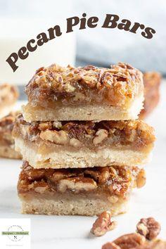 Pecan Pie Bars recipe from RecipesForHolidays.com #pecan #pie #bars #recipe #RecipesForHolidays Pecan Desserts, Pecan Recipes, Frozen Desserts, Pie Recipes, Fun Desserts, Cookie Recipes, Fun Easy Recipes, Best Dessert Recipes, Candy Recipes