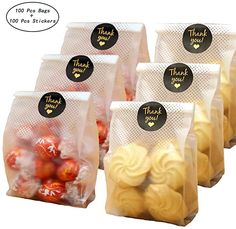 SAILING-GO 100 pcs./Pack Translucent Plastic Bags for Cookie, Cake, Chocolate, Candy, Snack Wrapping Good for Bakery Party with Thank You Stickers: Kitchen & Dining Bake Sale Packaging, Baking Packaging, Food Box Packaging, Bread Packaging, Dessert Packaging, Food Packaging Design, Biscuits Packaging, Chocolate Wrapping, Cafe Food