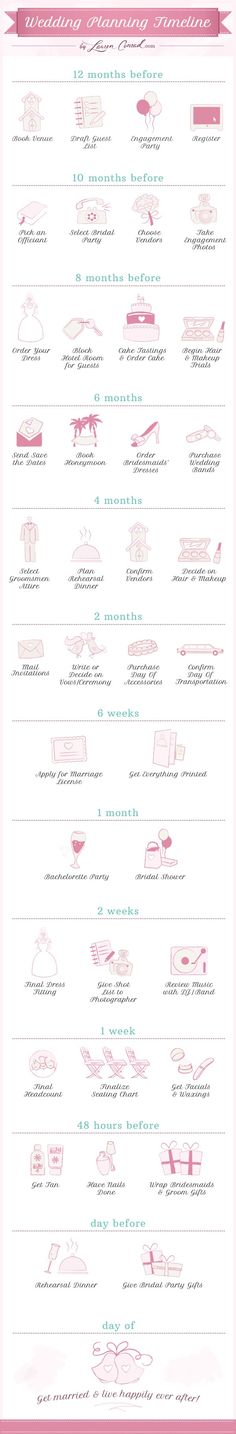 Wedding Planning Timeline #PalomaBlanca #weddingday #weddingadvice www.palomablanca.com