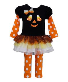 Another great find on #zulily! Black Candy Corn Tutu Dress & Leggings - Infant & Toddler by Gerson & Gerson #zulilyfinds