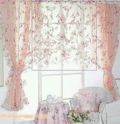 Sheer pink curtains with flower lace. Love the table and chair set up. Romantic shabby chic.   G;)