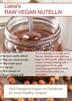 ~ NUTELLA Recipe ~ Fast, Easy, Vegan and Raw :)