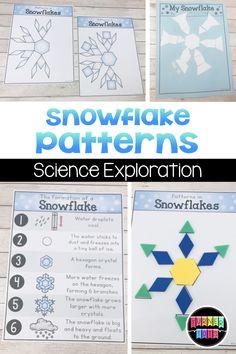 Snowflake Patterns Activity – Winter And New Year Snow Activities, Kindergarten Activities, Science Activities, January Preschool Themes, Science Ideas, Science Experiments, Snow Theme, Winter Theme, Snow Much Fun