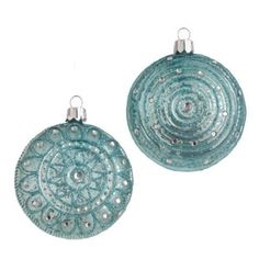 Glittered Blue Medallion Ornaments  Price : $16.50 http://www.perfectlyfestive.com/RAZ-Imports-Glittered-Medallion-Ornaments/dp/B008SKS7MM