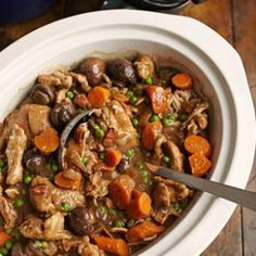 Slow-Cooker Stout & Chicken Stew 4 star rating on Eating Well.  braised in Guiness.  bacon added with chicken and veggies