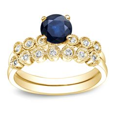 Auriya 14k Gold 4/5ct Blue Sapphire and 1/5ct TDW Round Cut Diamond Bridal Ring Set (H-I, I1-I2)