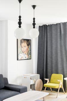 white living room yellow armchair grey sofa long curtains