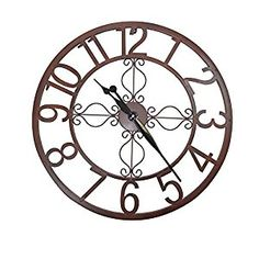 Large Brown Skeleton Style Wall Clock: Amazon.co.uk: Kitchen & Home