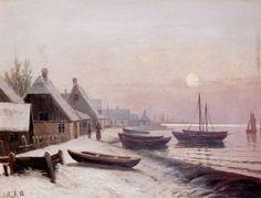 Fishing Boats in Winter Sunlight by Anders Andersen-Lundby