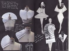 Fashion Design Sketchbook with design drawings and fabric manipulation experimentation using paper; fashion design development Fashion Design Sketchbook with design drawings and fabric manipulation Fashion Design Books, Fashion Design Sketchbook, Fashion Design Portfolio, Fashion Sketches, Fashion Designers, Book Design, Fashion Brands, Paper Fashion, Origami Fashion