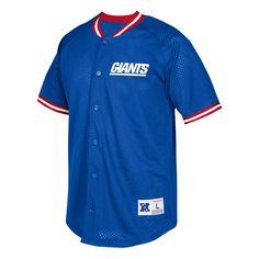 New York Giants Mitchell & Ness Seasoned Pro Mesh Button-Up Shirt - Royal - $99.99