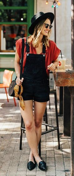 #summer #outfits Black Hat + Red Tee + Black Overall + Black Leather Loafers