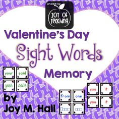 Sight Word Memory Games using the first 100 words on Fry's most frequent word list.  3 versions: printed word match, word and word shape match, and print and cursive word match  $  Joy of Teaching - mrsjoyhall.com
