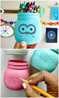 Easy DIY Animal Painted Mason Jars - 130 Easy Craft Ideas Using Mason Jars for Spring & Summer - DIY & Crafts