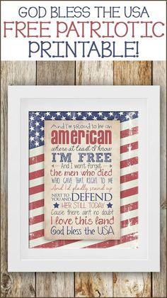God bless the USA printable